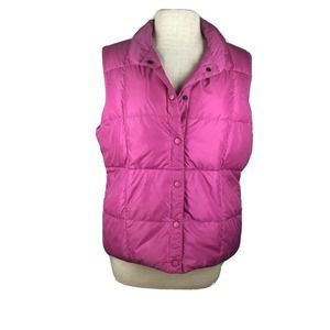 Land's End Bright Pink Quilted Down Puffer Vest
